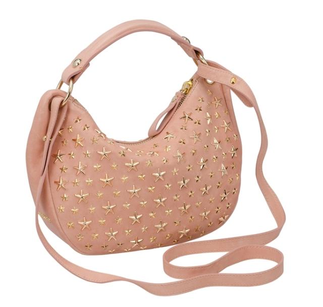 star studded pink color bag