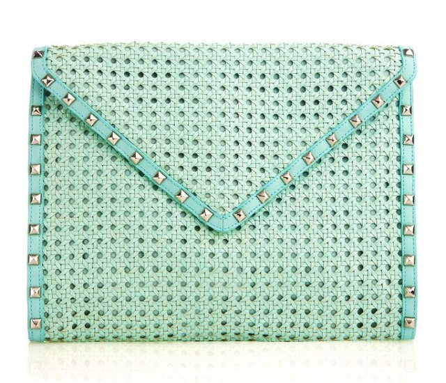 Rebecca Minkoff mint color braided studded clutch bag