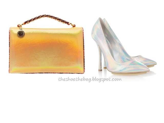 Stella McCartney metallic shoe and handbag futuristic trend