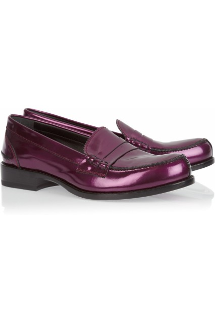 Jil Sander metallic leather purple loafer