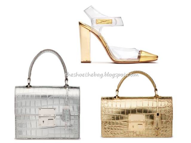 Michael Kors metallic croco bags shoes