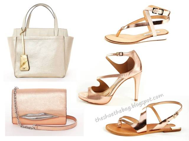 Diane Von Furstenberg metallic shoes and bags