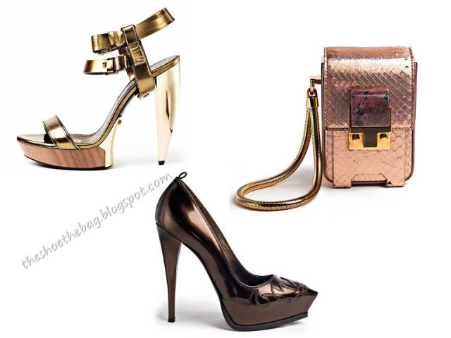 Lanvin metallic shoes and bags