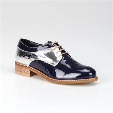 navy silver oxford shoe by Hotiç