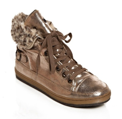 gold metallic leather boot by derimod