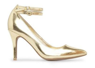metallic gold heel shoe by mango