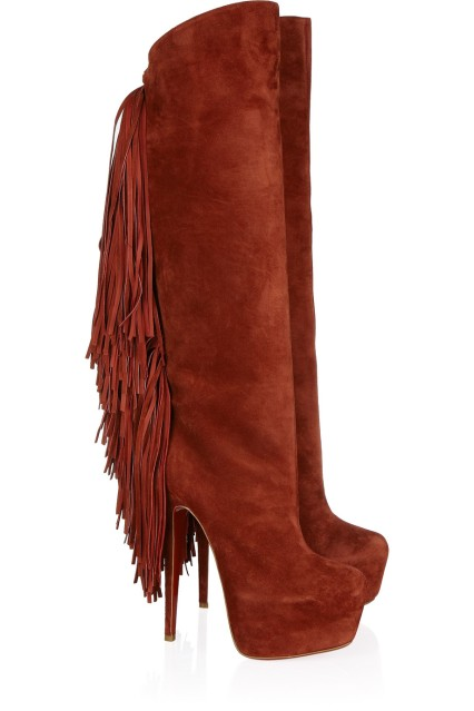 Christian Louboutin suede fringe boots with platform heels