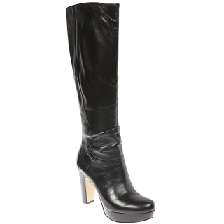 nine west platform heel long boot black